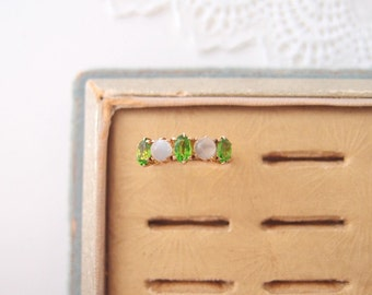 Victorian 14k gold Moonstone Orb ring green stone tourmaline demantoid garnet stackable multistone row... size 6.5