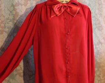 Sz S-M Sheer Vintage Red Blouse Top Button-Ups Unique Collar