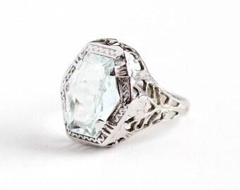Sale - Antique 14k White Gold Filigree Aquamarine Ring - Vintage Art Deco 1920s Size 3 Icy Aqua Blue Gemstone March Birthstone Fine Jewelry