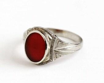 Sale - Vintage 10k White Gold Filigree Carnelian Ring - Antique Belais Size 7 Art Deco 1920s 1930s Dark Red Gemstone Fine Embossed Jewelry