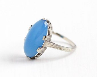 Sale - Antique 14k White Gold Blue Chalcedony Cabochon Ring - Vintage Size 4 Filigree 1920s Flower Wheat Design Oval Gem Fine Jewelry