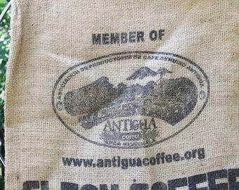 Vintage Burlap Bag, Coffee Bean Bag, Heavy Weight Jute Woven Product of Antiqua, Guatemala Rustic Craft Fabric, Gunny Sack