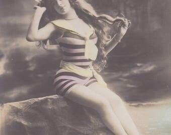 Bathing Beauty 2 by Gerlach of Berlin, Vintage German Postcard circa 1906-8