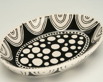 Oval Snack Bowl, Trinket Dish, Small Personal Shallow Bowl, Hand Painted Office Accessory Dinnerware or Soap Dish