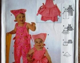 Easy to Sew Infant Girls Bib Overalls, Bib Skirt, Pants and Scarf Sizes 6m 9m 12m 2 3 Burda Pattern 9737 UNCUT