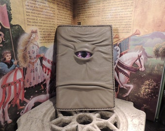 Mythical Beast Book-Refillable journal cover 4x6(Stone leather with Purple  eye)