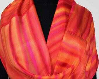 Orange, Pink Hand Painted Silk Scarf TANGERINE PUZZLE. Size 11x60. Elegant Handmade Silk Scarf. Birthday Gift, Anniversary Gift, Mother Gift