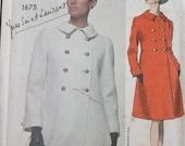 Yves Saint Laurent, Vogue Paris Original Pattern, Misses Double Breasted Short Coat Pattern, Empire Waist Coat Pattern ,  Size 10