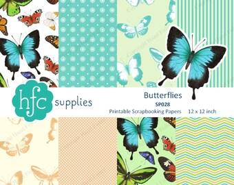 Butterfly Digital Paper Pack - monarch, ulysses, cairns birdwing butterflies Printable Scrapbook Paper Set - Instant Download SP028