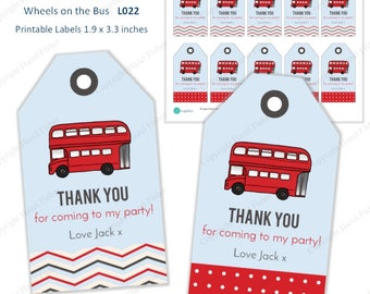 Wheels on the Bus Printable Labels / Favour Tags - red London bus, customised, thank you for coming to my party tag - Instant Download L022