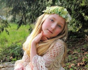 Ivory flower headband, ivory  rose headband,flower crown,halo headband,flower girl headband,bridal headband,ready to ship, green tieback