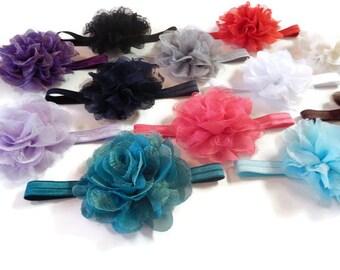 "You Pick 4 - Chiffon Lace 3.5"" Flower on FOE Headband or Clip - 12 colors to choose - Infant headband - childrens headband - Adult headband"