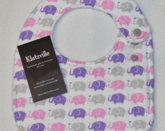 Pink Purple Grey Elephants Print Cotton Side Snap Terry Bib S