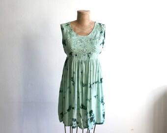 Green Rayon Tie Dye Mirror Dress