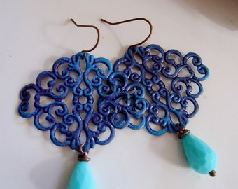 Blue Filigree Earrings, Chandelier Dangles, Boho, Moroccan, Tribal, Acrylic Teardrop, Redpeonycreations