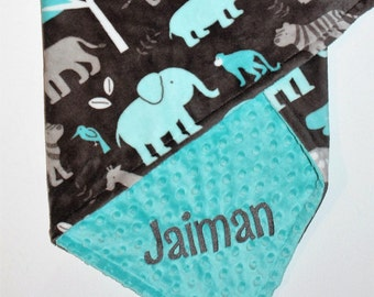 Jungle Animals Baby Blanket, PERSONALIZED Baby Blanket, Gray, Topaz Blue, Double Minky, Custom Blanket, Baby Boy Blanket -Choose Your Colors