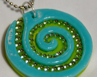 Steph Glass Turquoise Green Dichroic Spiral Swirl Pendant, Fused Glass Necklace, StephGlass Original Art