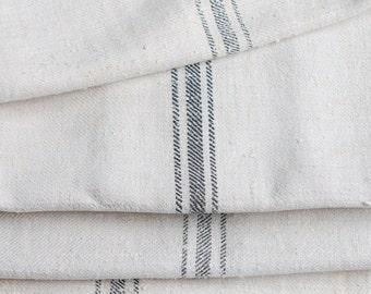 VINTAGE European Grain Sack with FADED BLACK Stripes