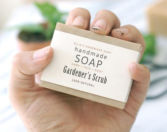 GARDENER'S SCRUB - Handmade Soap - 100% Natural + Cold Process Olive Oil Soap - 4 ounce bar