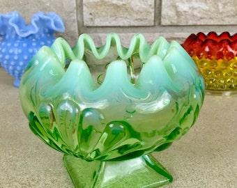 Antique Pedestal Candy Dish * Opalescent Green Glass * 1900s Jefferson Glass Co. * Beads & Fans