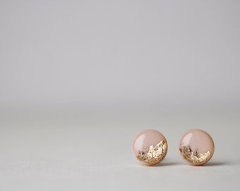 Beige Gold Foil Shimmering Stud Earrings