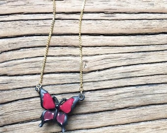 Vintage 90s Plastic Butterfly Necklace / Red and Black / Gold Chain / Charm Pendant