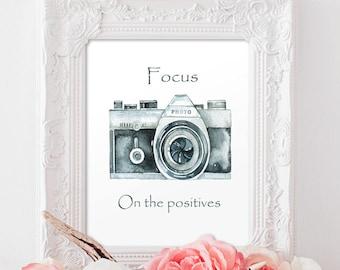Focus on the positives Art Print Motivational Printable Art, Watercolor Printable Art Print Modern decor Instant Download, Digital File