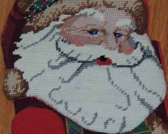 SANTA Needlepoint Christmas Stocking