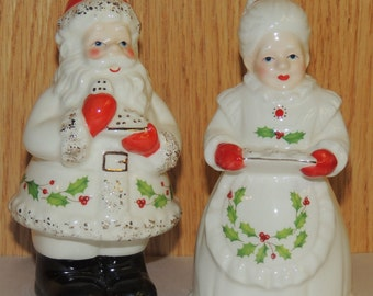 LENOX Mr and Mrs Claus Salt and Pepper Shakers