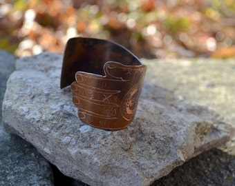 Metal Ink'd - Old School Tattooed Sleeve Copper Cuff Bracelet Hand Engraved & Patinaed. - ReaganJuel: Inkd54