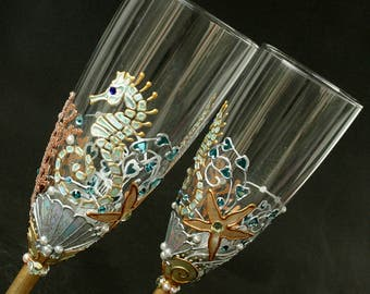 Beach Wedding Glasses, Champagne Glasses, Seahorse Starfish Glasses, Hand Painted, Set of 2