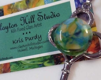 Key PenDot Necklace - fused glass