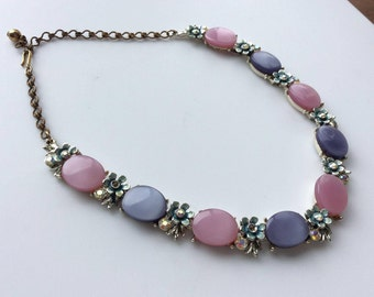 BSK Lavender and Pink Thermoset Necklace with Aurora Borealis Rhinestones
