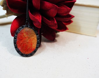 Mothers Day Gift Red Pendant Orange Pendant Brown Oval Pendant