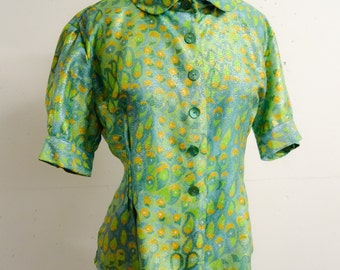 1960s Peacock green lamé fitted blouse / 60s printed lurex penny collar shirt - M L