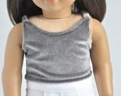 AG Doll Clothes - Velvet Cami, Grey, Crop Top, Tank, Trendy, Modern, 18 inch