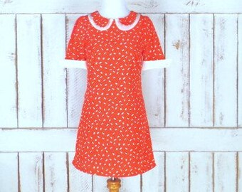 90s vintage red/orange triangle speckled peter pan collar short mini dress/short sleeve dotted mod dress/xsmall/small