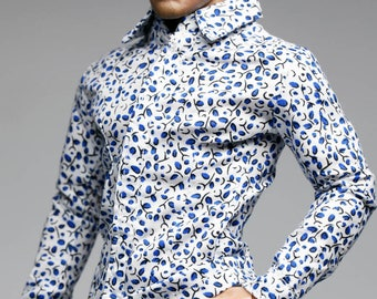 mc0367 White Blue Stylist Printed Slim Fit Shirt for 1/6 Figure Enterbay Hot Toys TTL Homme FR Ken