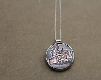 train jewellery, train necklace, steam train, train pendant, locomotive jewellery, steam train jewellery,industrial necklace,engine necklace