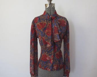 Vintage '70s/'80s Bethany Sheer Floral Fitted Collarless Blouse w/ Matching Ruffled Scarf, Small / Medium