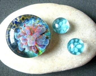 Fuchsia Flower Implosion Cabochon Set - 25mm - Jewelry Making Supply