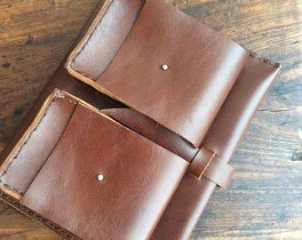 Folio iPad, Notepad portfolio, iPad padfolio, Folder organizer, Leather notepad holder, Multi pocket folder, Leather iPad portfolio, NY made