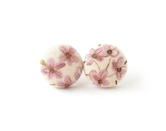 Gift for her - floral button earrings - vintage style fabric earrings - tiny white pink purple stud earrings