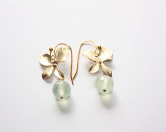 Prehnite Flower Earrings, Matte Gold Tone Flowers, Prehnite Stone Drops, Ready to Ship