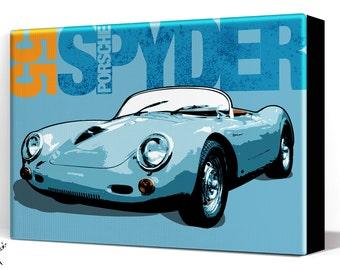 Car Art - Porsche Spyder - Canvas Art print, Automobile Art, Car Gift, Garage Decor, Race Car, Man Cave Art, Large Canvas Art, Garage Art