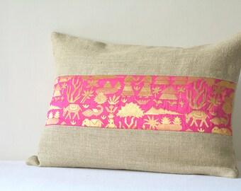 Linen Pillow with Hot Pink Brocade Band , Linen and Brocade Pillow , Industrial Chic Linen Pillow, Holiday Decor, Linen Cushion