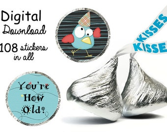 Birthday You're How Old Kisses stickers digital download .75 inch circles