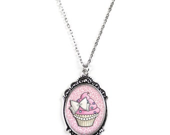 """Pink Cupcake Cameo Necklace with Ornate Silver Frame on 18"""" Chain"""