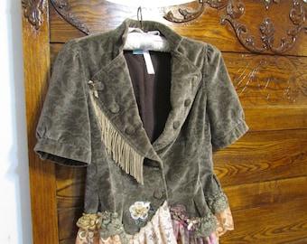Cute Velvet Jacket, taupe velvet ruffle lace trim, gypsy fringe renaissance fairytale jacket, fits EXTRA SMALL or JUNIOR