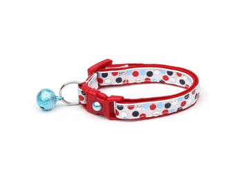 Nautical Cat Collar - Red, Silver, and Blue Nautical Polka Dots  Small Cat / Kitten or Large Size